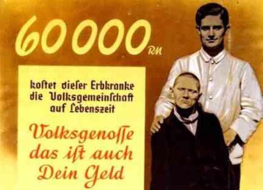Detail van een Nazi Euthanasie Propaganda poster uit 1938 (Foto: Wikimedia)