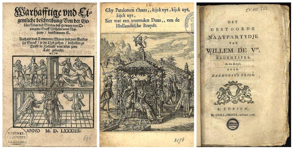 Drie willekeurige pamfletten uit de collectie Knuttel van de Koninklijke Bibliotheek.
