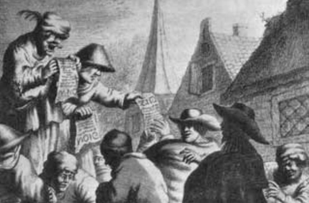 J. van Vliet. De pamflettenverkoper of liedjeszanger. Circa 1630. Atlas van Stolk (AVS 2110).