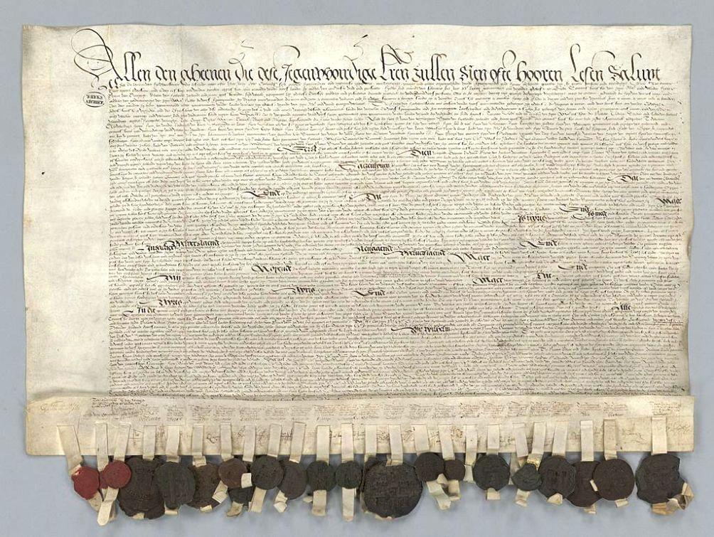 De officiële ratificatie van de pacificatie van Gent. (foto: Nationaal Archief)