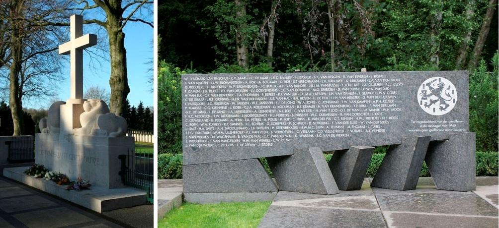 Herdenkingskruis en monument voor vermisten van mei '40 op het Ereveld Grebbeberg, Rhenen. (Foto's: Wikimedia)