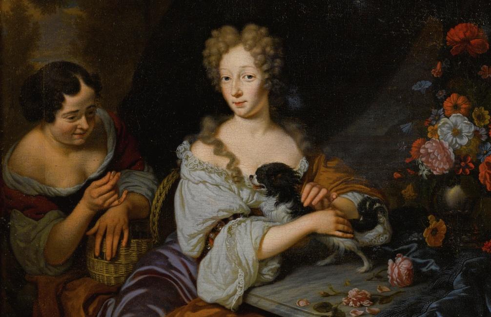 Portret van een rijke dame met haar hond en dienstmeisje, Michiel van Musscher, 1686. (foto: Wikimedia)
