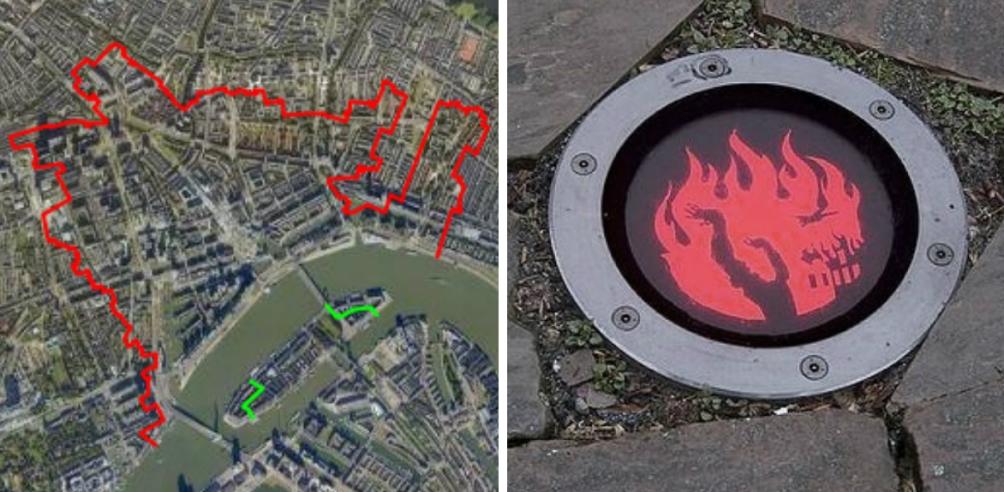 Op de kaart is de Brandgrens van Rotterdam te zien die 's avonds verlicht wordt met lampen in het plaveisel. (Foto's: Gemeentearchief Rotterdam)