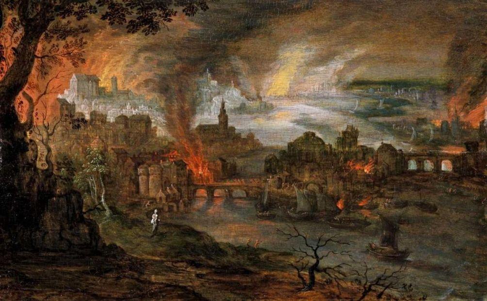 De verwoesting van Sodom en Gomorra door Pieter Schoubroeck (ca. 1570–1607). (foto: Wikimedia)