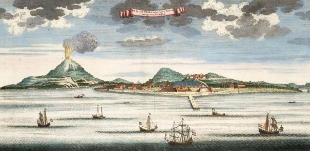 Zicht op één van de Banda-eilanden genaamd Neira, 1724-1726. (foto: Wikimedia)