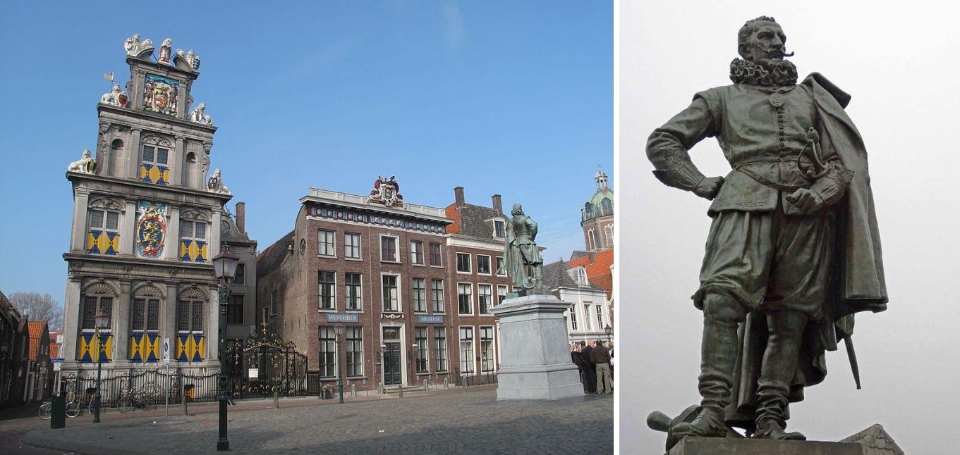 Standbeeld van Jan Pieterszoon Coen in Hoorn; door Ferdinand Leenhoff (1893). Op 16 augustus 2011 viel het beeld van zijn sokkel door een tik van een kraan die met werkzaamheden bezig was. (foto: Wikimedia)