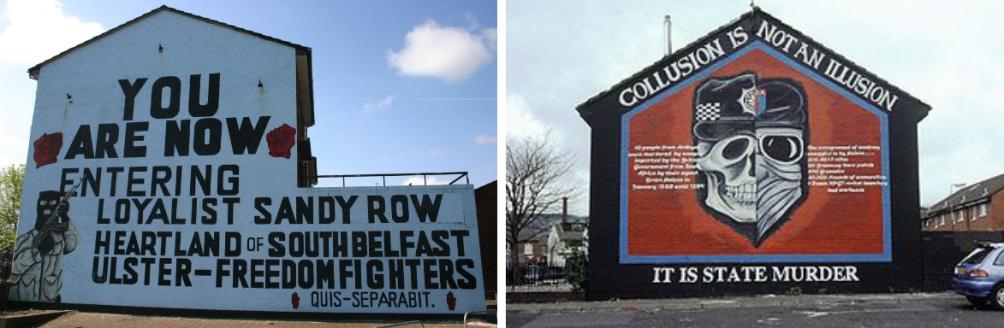 inks een voorbeeld van een loyalistische mural gemaakt door de Ulster Defence Association. Rechts is een voorbeeld van een republikeinse (of nationalistische) mural, waarin de maker claimt dat de 'loyalistische moordenaars' worden bewapend door de Britse overheid (Foto's: Wikimedia)