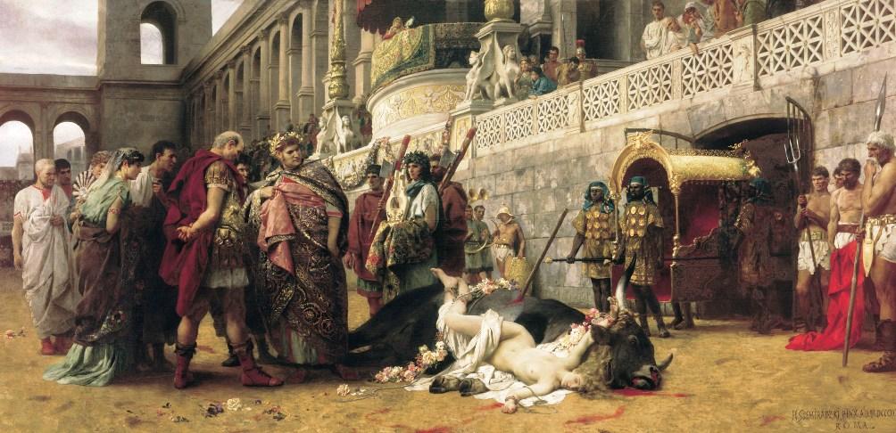 Nero in weelderig gewaad met zijn blik op een zojuist in de arena gestorven christelijk meisje - Nero wees de christenen aan als schuldigen van de grote brand. Werk van Henryk Siemieradzki (1843-1902). (foto: Wikimedia)