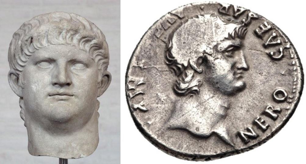 Hoofd van Nero dat bij een beeld van ruim 2,40 meter hoort, uit  64 v.Chr. Rechts: Nero op een Romeinse Denarius. (foto's Wikimedia)