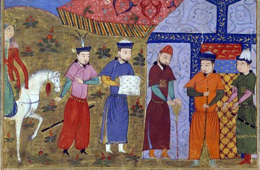 Genghis Khan en Chinese gezanten. Jami 'al-Tawarikh, Rashid al-Din.