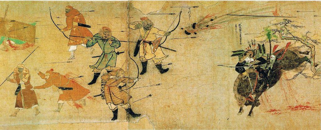 De samurai Suenaga met de Mongolen die pijlen en bommen werpen. (Foto Wikimedia)