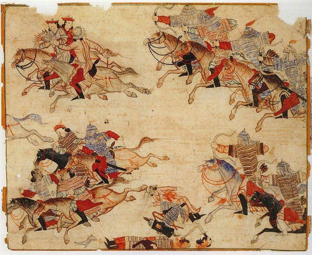 Mongoolse strijders te paard. Illustratie uit het boekwerk van Rashid-al-Din Hamadani (1247–1318), begin van de 14e eeuw.