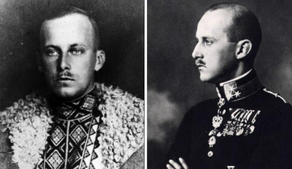 """De twee Habsburgse prinsen. Links Karel Albrecht, kolonel van Oostenrijk en generaal-majoor van Polen. Rechts Wilhelm Habsburg in Oekraïense kledij. Door zijn betrokkenheid bij het gewone volk werd hij de """"Rode Prins"""" genoemd. (foto's: Wikimedia)"""