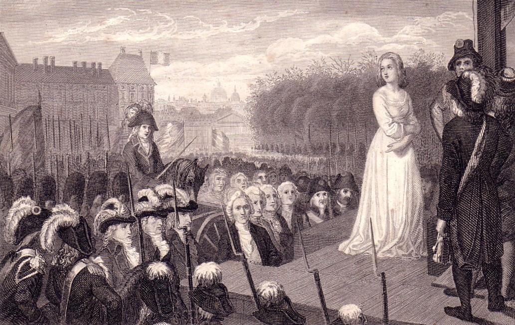 Voorbeeld van een executie met publiek. Executie van de Franse koningin Marie Antoinette in 1793. (Foto: Wikimedia)