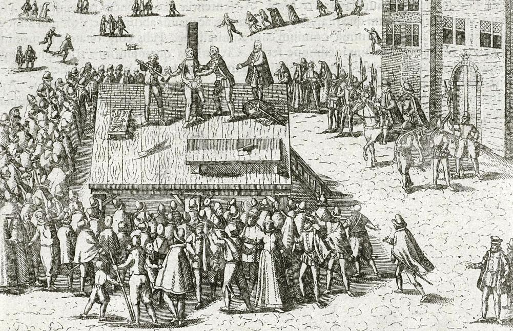 Balthasar Gerards wordt op 14 juli 1584 op een schavot op de Grote Markt te Delft voor het toegestroomde publiek gemarteld en geëxecuteerd. (Foto: Geheugen van Nederland)
