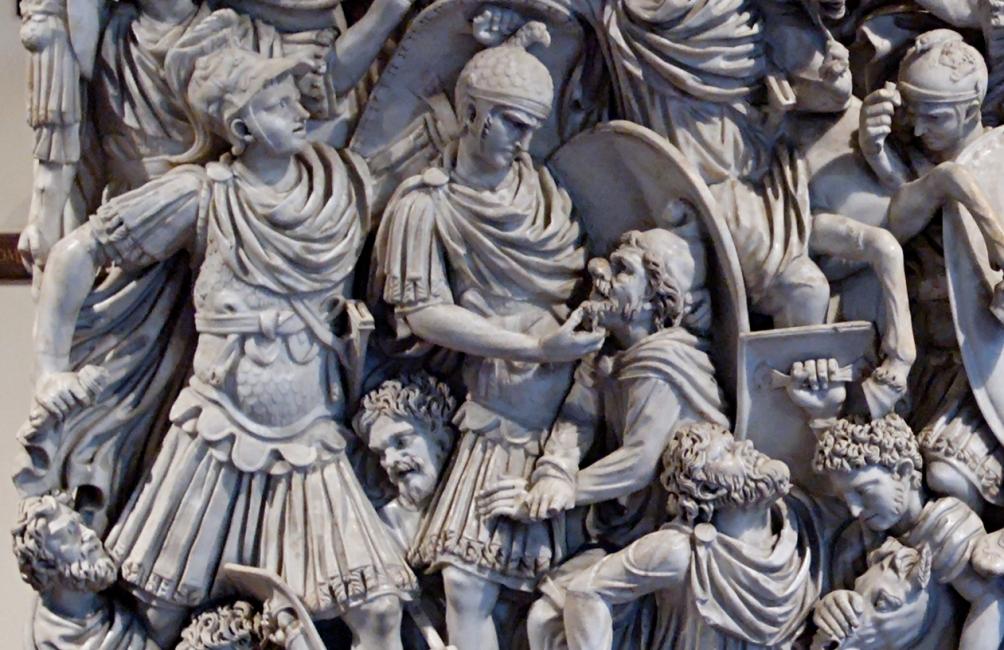 Detail van de Ludovisi-sarcofaag: de Germanen worden door de Romeinen overwonnen. (foto: Marie-Lan Nguyen, Wikimedia)