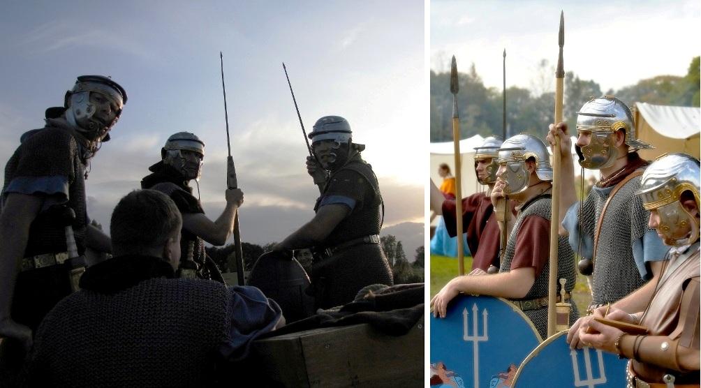 Auxilia soldaten in uitrusting. Dankzij enthousiaste re-enactment groepen is het mogelijk een goede indruk te krijgen van de Romeinse legermacht. (foto: Vereniging Pax Romana)