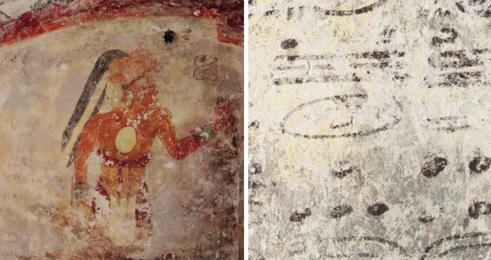 Details van de opgravingen bij de Maya-nederzetting Xultún (ca. 900 n.Chr.).