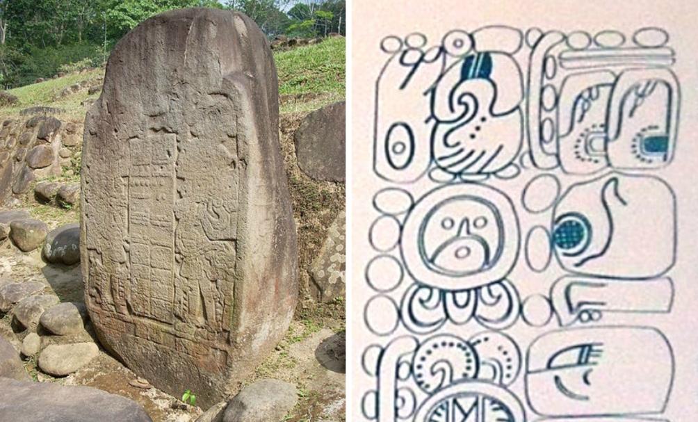 Vroeg voorbeeld van een 'lange telling' op een beeld afkomstig uit Guatamala. (Foto: Wikimedia)