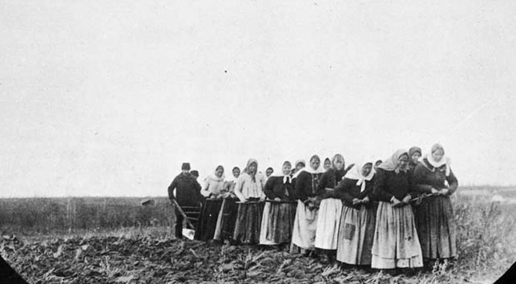 Vrouwen die de prairie ploegen omstreeks 1899 (Foto: Wikimedia)