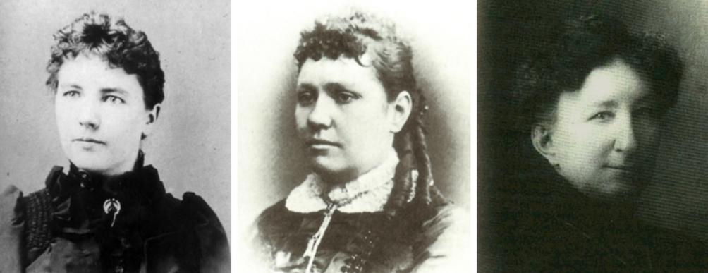 Drie legendarische vrouwen uit het 'Wilde Westen'. Van links naar rechts: Laura Ingalls Wilder, Poker Alice en Big Nose Kate. Klik op de afbeelding voor meer informatie over deze vrouwen (Foto's: Wikimedia)