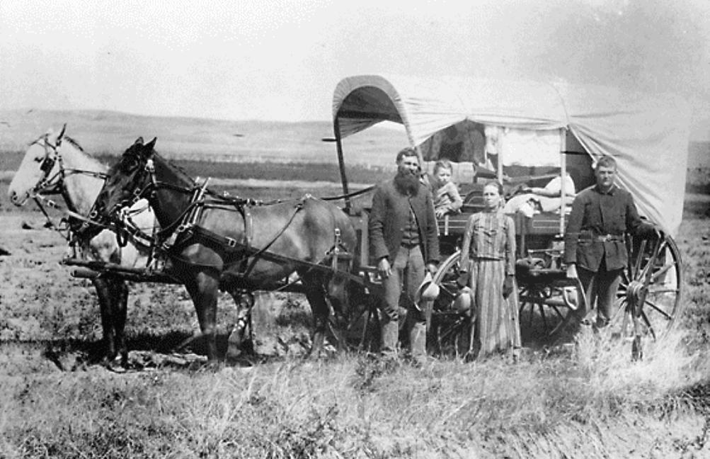 'The Covered Wagon', het symbool van de Grote Westwaartse Migratie in Amerika tijdens de tweede helft van de 19de eeuw. Gedurende de reis diende deze wagen zowel als huis en vervoersmiddel (Foto: Wikimedia)
