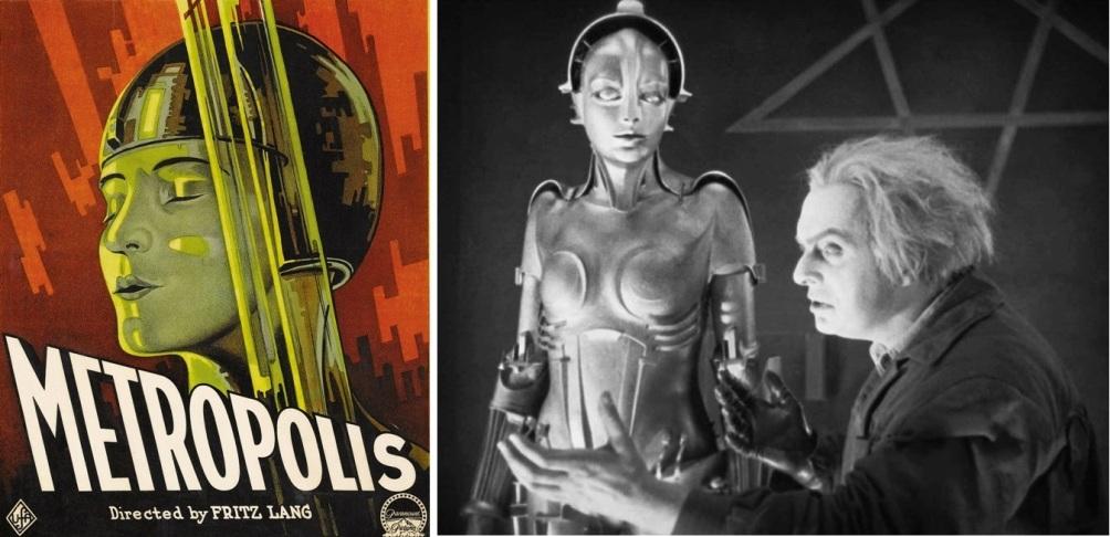 Poster en filmbeeld uit de futuristische film Metropolis uit 1927.