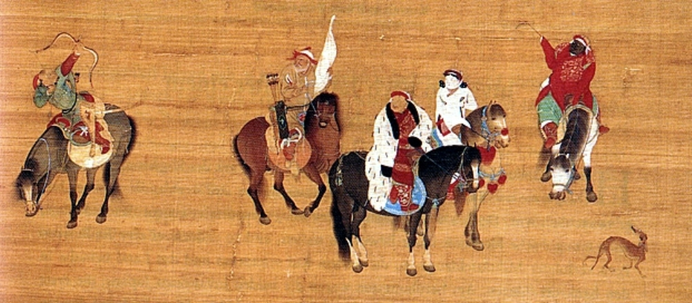 Een Mongools jachttafereel door de Chinese kunstenaar Liu Guandao, c. 1280. Op het zwarte paard zien we  Kublai Khan met daarnaast zijn vrouw. (foto: Wikimedia)