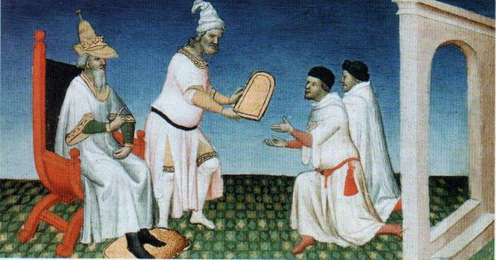 Marco Polo op bezoek bij Khubilai Khan rond 1275. Hij neemt hier een 'paiza' in ontvangst. Een paiza is een tablet waarmee bezoekers van het Mongoolse Rijk bescherming en ondersteuning konden opeisen tijdens hun reizen.(Foto: Wikimedia)