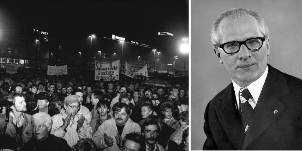 Foto 1: Burgers van de Oost-Duitse stad Leipzig in 1989 op één van hun wekelijks plaatsvindende protestbijeenkomsten tegen het regime. Foto 2: Portret van Erich Honecker in 1976. (Foto's: Wikimedia)