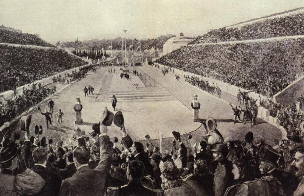 Tijdens de eerste moderne Olympische Spelen in 1896 won de Griek Spiridon Louis de marathon. Op deze tekening wordt hij toegejuichd door het publiek in het stadion in Athene. (foto: Wikimedia).