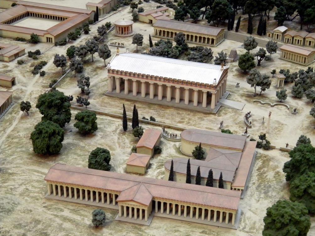 Een klein deel van een maquette in het British Museum die laat zien hoe Olympia, de locatie van de antieke Olympische Spelen, er rond 100 v.Chr. uitgezien zou hebben. (foto: Wikimedia)