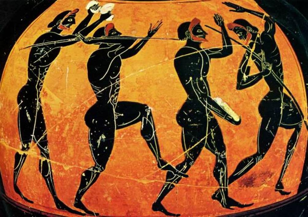 In 708 v.C. werd de pentatlon (vijfkamp) ingevoerd op de Olympische Spelen, bestaande uit discuswerpen, verspringen, speerwerpen, hardlopen en worstelen. Op deze amfoor zie je een verspringer, een discuswerper en twee speerwerpers. (foto: Kuleuven.be)
