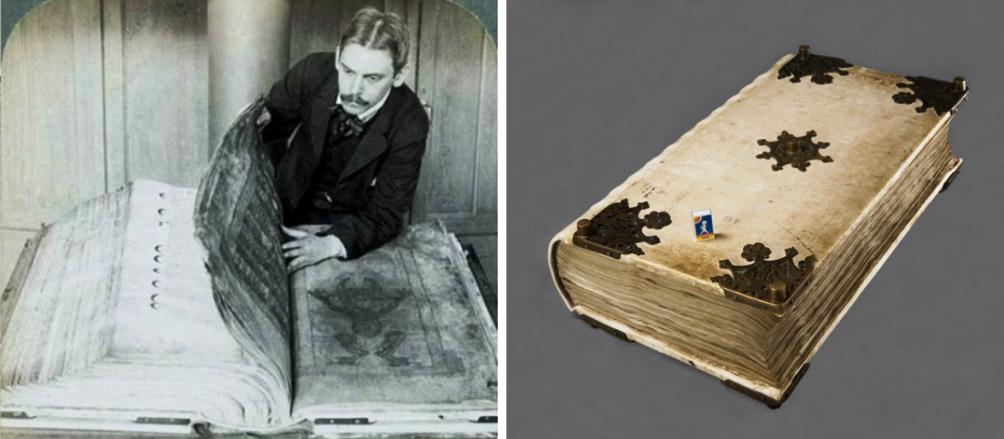 Op deze foto's is te zien wat een enorm boekwerk de Codex Gigas is. Links op de foto zie je bibliothecaris Gustaf Liljegren in 1906. (Foto: Flickr the Commons, Kungliga Biblioteket te Stockholm, Zweden)