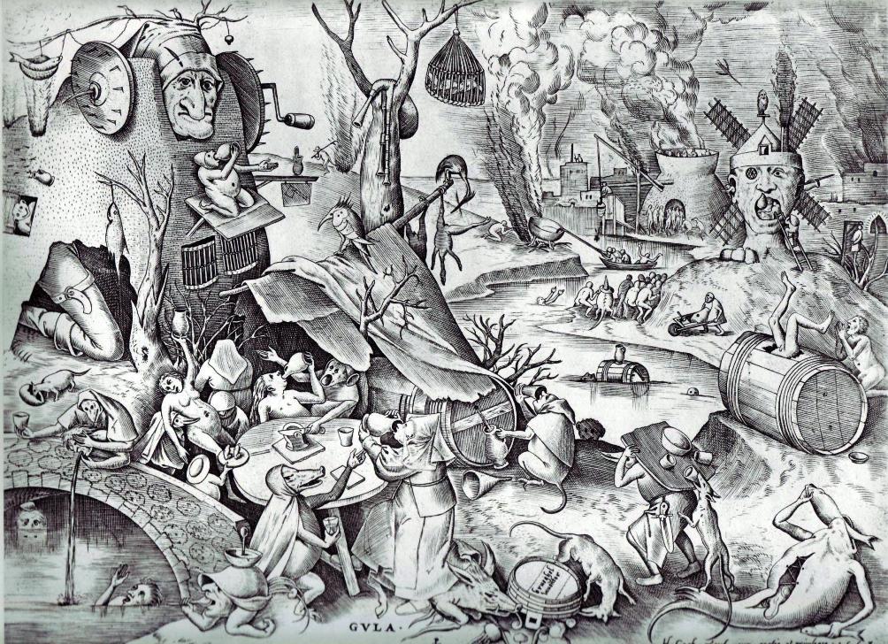 Gulzigheid. Een gravure van Pieter Bruegel de Oude die geplubiceerd werd in 1558 door Hieronymus Cock (Foto: Wikimedia)