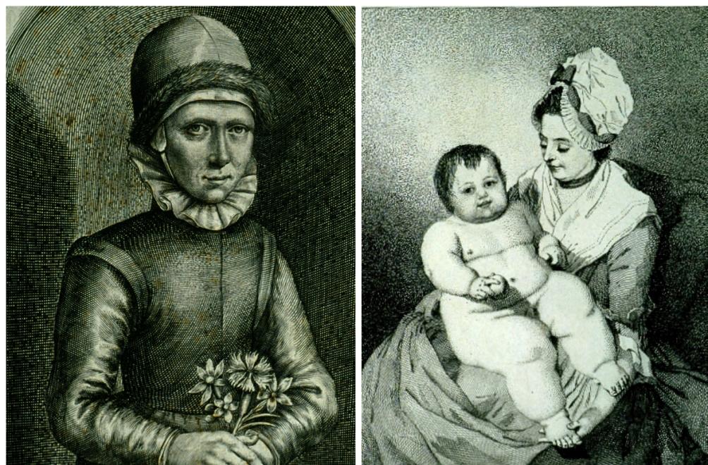 Links een afbeelding van het 'Wondermeisje' Eva Vliegen en rechts zien we een afbeelding van 'Mrs Everitt en haar Zoon– Het Gigantische Kind'. Zo heeft 'prize-baby' Lottie er waarschijnlijk ook uitgezien (Foto's: Museum Boerhaave)