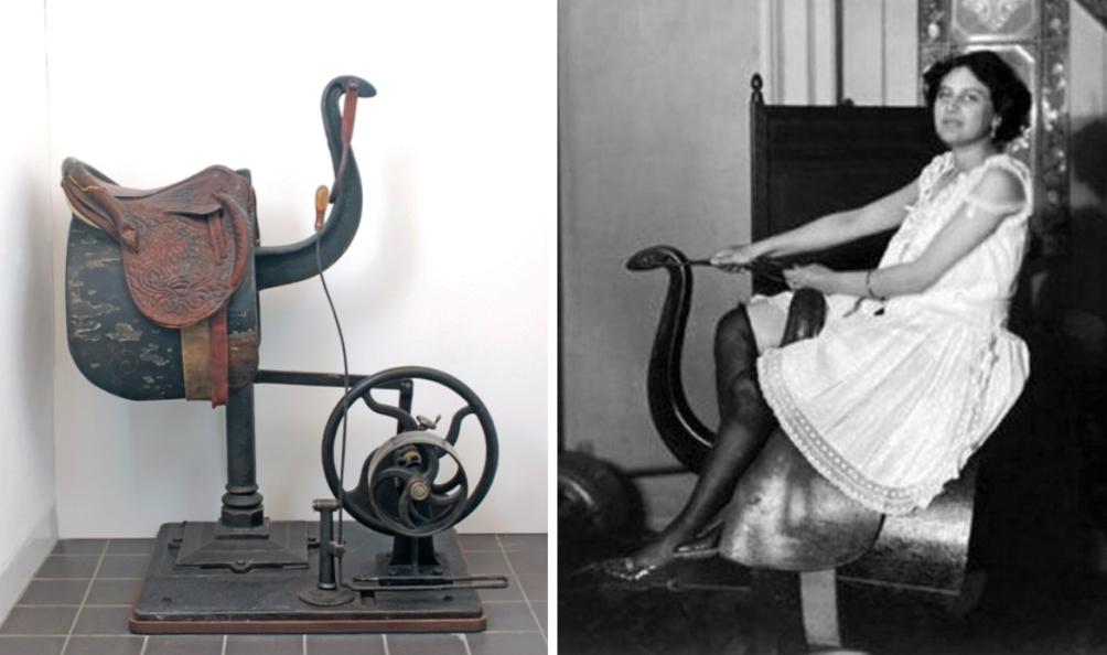 Een van de eerste gymnastiektoestellen om het gehele lichaam in rijzit te laten vibreren. Ontworpen door Gustav Zander begin 20e eeuw.