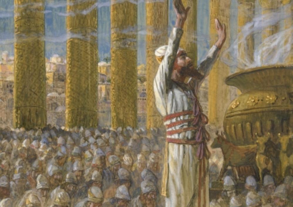 Koning Salomo wijdt de eerste Joodse Tempel in, detail van een 19e eeuws schilderij
