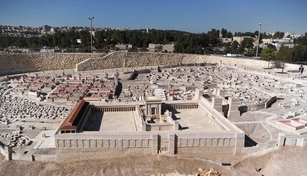 Maquette van de Tempel van Herodes zoals deze er in het jaar 66 uitzag. De maquette is te vinden in het Israëlmuseum te Jeruzalem (Foto: Wikimedia)