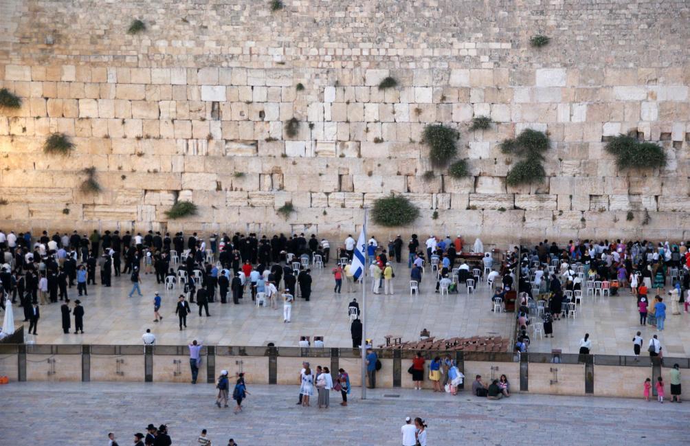 De klaagmuur in Jeruzalem.