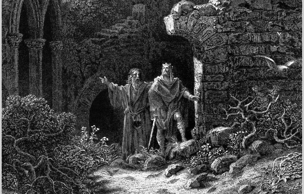 """Prent uit de 19e eeuw: Arthur advies van Merlijn. Een prent van Gustav Doré uit """"Idylls of the King"""". (Foto's: Wikimedia)"""