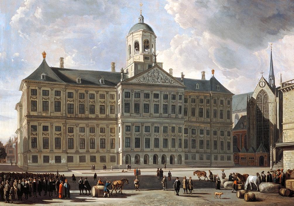 Het stadhuis op de Dam in Amsterdam in originele staat, geschilderd tussen 1665-1680 door Gerrit Adriaensz. Berckheyde. (foto: Wikimedia)