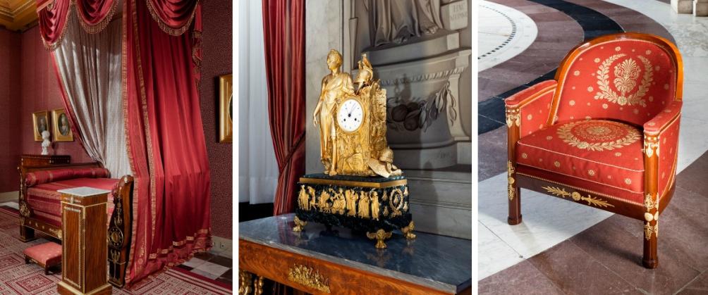 Van links naar rechts: bed van Lodewijk Napoleon, pendule Napoleon als Julius Ceasar en Empire stoel uit de slaapkamer van de koning. (foto's: Qiu Yang, Stichting Koninklijk Paleis Amsterdam)