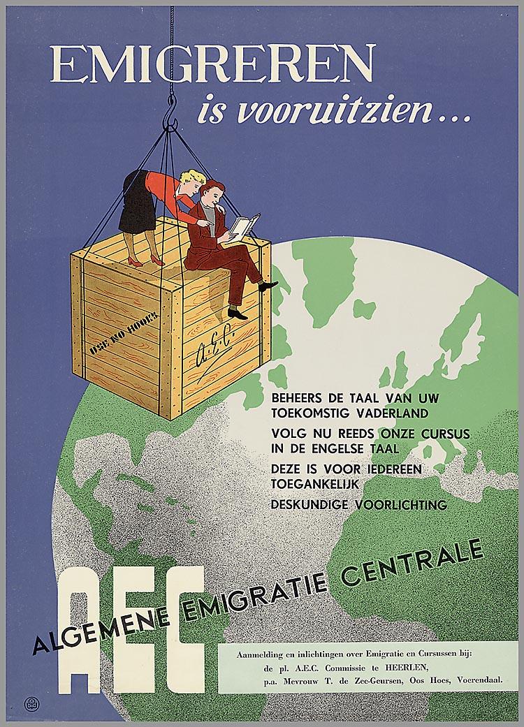 Cover van boekje 'Emigreren is vooruit zien' om Nederlandse emigranten voor te bereiden op hun vertrek. (foto: IISG)