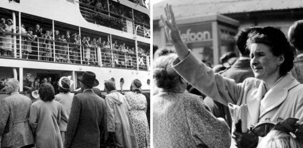Zwaaiende mensen in 1953 bij vertrek naar Australië in 1950-1953. (foto: Nationaal Archief / Flickr Commons)
