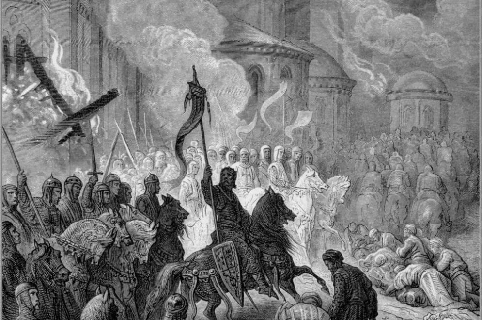 De kruisvaarders trekken Constantinopel binnen. Door Gustave Doré. (Foto: Wikimedia)