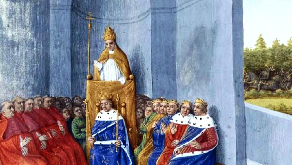 Op 27 november 1095 predikt paus Urbanus II in Clermont-Ferrand de Eerste Kruistocht in aanwezigheid van Philip I. Door Jean Fouquet, Tours, c. 1455-1460 Paris.