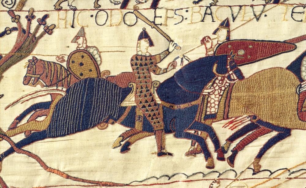 Afbeelding van Odo, halfbroer van Willem en bisschop van Bayeux, terwijl hij zijn mannen opjaagt om zich in de strijd te begeven. (Foto: Wikimedia).