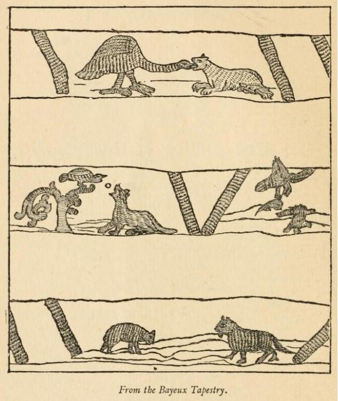 De fabel van de vos en de kraai van de Griekse dichter Aisopos op het tapijt van Bayeux.