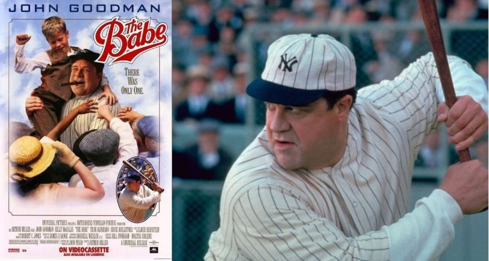 John Goodman als Babe Ruth in de film The Babe.